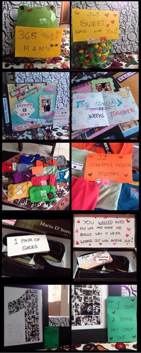 1st year anniversary gift for my boyfriend. Ü * 365 m&m's for 365 sweet days with you * 52 favorite memory of us for 52 special weeks together * 12 v-neck shirts for 12 colorful moths together * 1 pair of shoes for 1 year running strong * and 1 for 1 year and being my only one