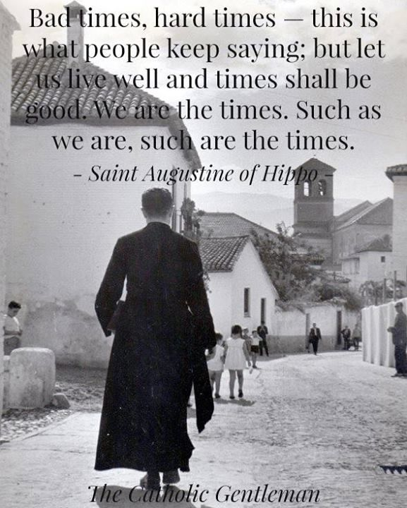 """""""Bad times, hard times--this is what people keep saying: but let us live well and times shall be good. We are the times. Such as we are, such are the times."""" -Saint Augustine of Hippo"""