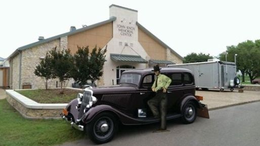 Taronda Schulz brought her 1934 Ford V8, which was just like Frank Hamer drove. News from Texas Ranger Hall of Fame and Museum 5-2016