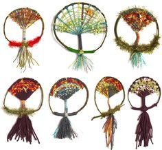 "Weave a ""tree of life"" using found branches, yarn, ribbon, and other materials! Very pretty (reminds me of a dreamcatcher)!"