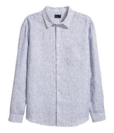 Camisa de lino Relaxed fit | Blanco/Rayas azules | HOMBRE | H&M CL