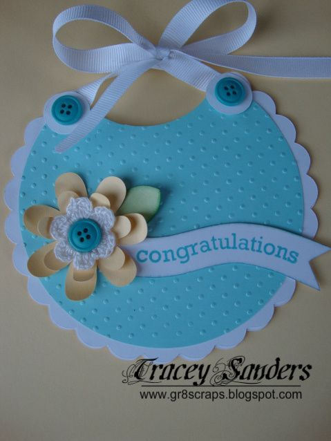 gr8scraps - Tracy Sanders created this Cricut Baby Bib Card using her Art Philosophy Cartridge from  Close to my Heart.