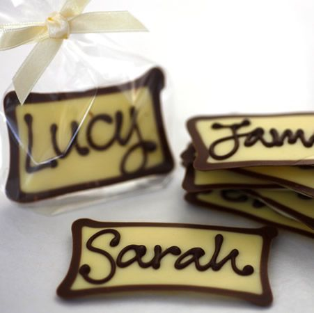 White chocolate place setting...I did a similar thing for gift tags at Christmas, everyone loved them! Great idea.