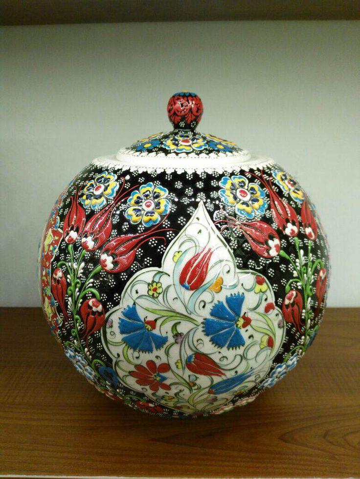 TURKISH CERAMIC WATERMELON VASE, ROUND JAR -30 cm