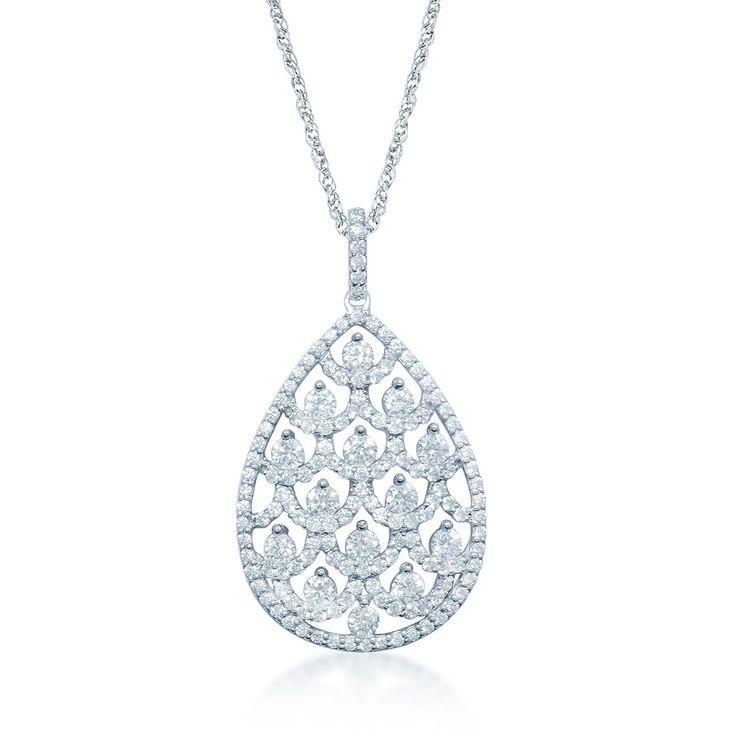 9ct White Gold 1.40ct Open Filigree Necklace  - Gemstones: DiamondBirthstones: AprilNecklaces: Diamond9ctWhite Gold1.40ctBrilliant ClawDiamondFancy Open FiligreeNecklace