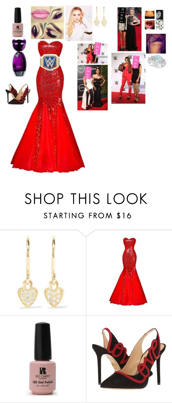 """Leah-Red Carpet with Nikki"" by thefuturemrsambrose ❤ liked on Polyvore featuring Jennifer Meyer Jewelry, Red Carpet Manicure, Charlotte Olympia and Allurez"