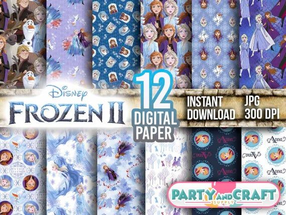 Awesome Frozen 2 Digital Paper Instant Download Scrapbooking Frozen 2 Printable Paper Craft These Are En 2020 Digital Scrapbook Paper Papel Digital Elsa Olaf
