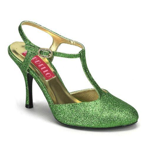 Oktoberfest Groene sandaal hakjes. Groene party schoenen, Groene sandaal hakjes in de Oktoberfest winkel.