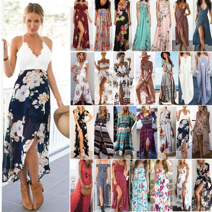 Férias Boho vestidos longos das mulheres vestido de verão praia flores vestido maxi vestido de festa …   – Schwarzes Kleid