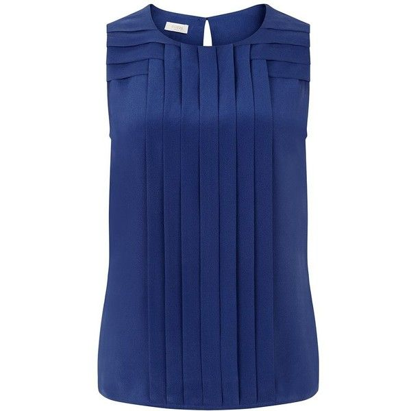 Hobbs Ondine Top ($91) ❤ liked on Polyvore featuring tops, blue, sale, sleeveless tops, drape top, drapey top, sleeveless drapey top and blue top