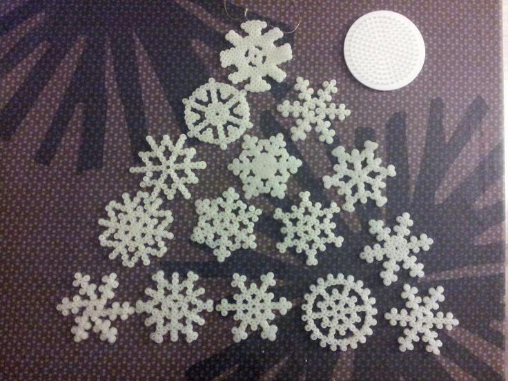 Snowflakes hama perler beads by Hanne Nielsen