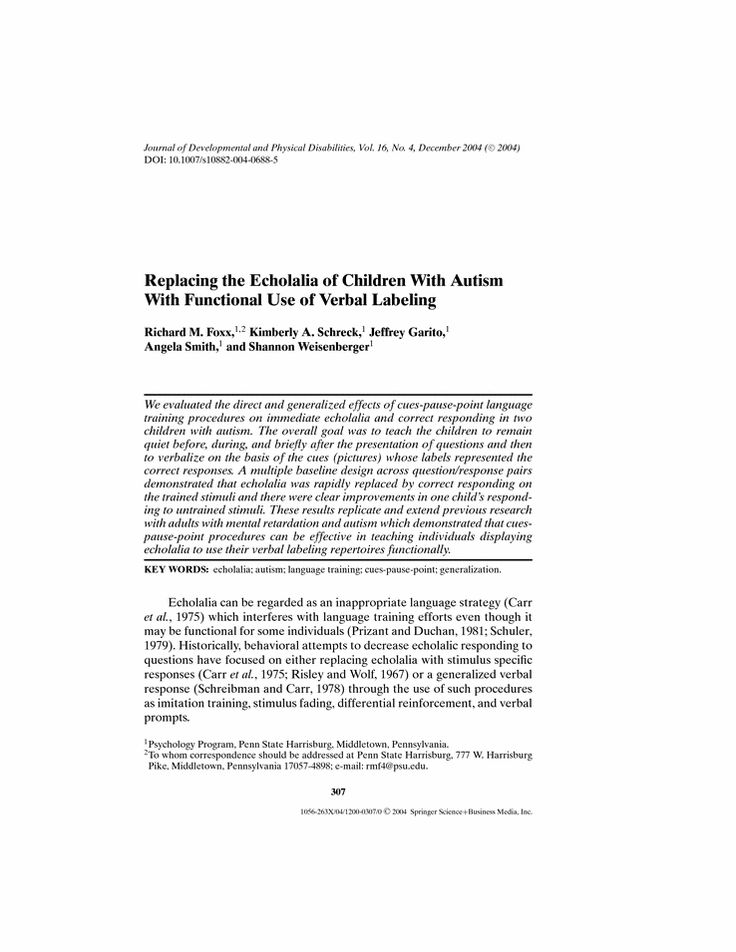 Replacing the Echolalia of Children With Autism With Functional Use of Verbal Labeling