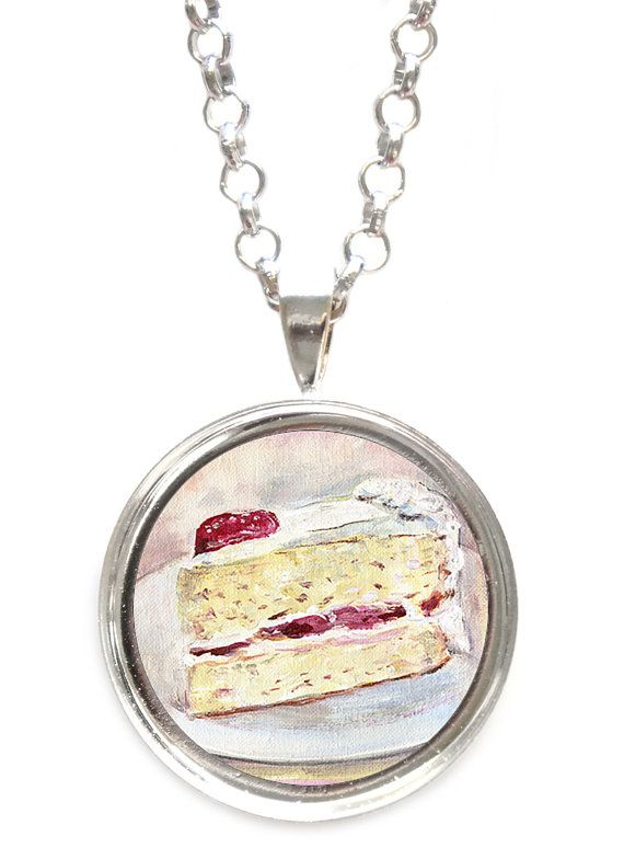 Strawberry Cream Cake Pendant Necklace by ScentedSweets on Etsy