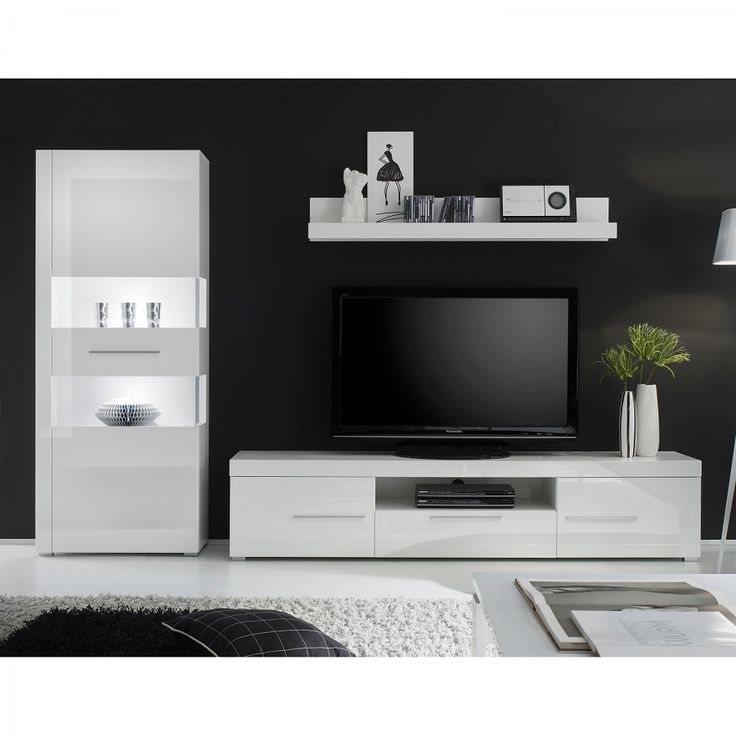 Woonwand Liminka (3-delige set) - hoogglans wit
