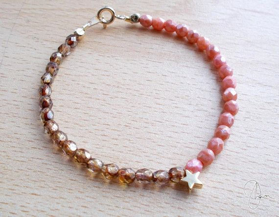 Tiny Gold Star Bracelet  Rose Pink & Bronze by DharaJewellery