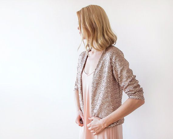 Sequin pink bridal jacket Long sleeves sparkling by BLUSHFASHION