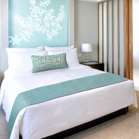 The Fiddlesticks Electra bel-air cushion can be seen here with the Persia Turquoise bed runner by @hotelhomeaust The beauty of this combination is that the fabric is a heavy duty commercial quality & has been purpose designed to not follow domestic trends, which can date very quickly in a hotel / accommodation environment #hotelhomeaust #hoteldesign #hotelbed #interiordesign #australiandesign #australianmade #bedrunner #hotelcushion #cushion #upholstery