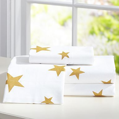 Luv the stars! The Emily + Meritt Metallic Star Sheet Set #pbteen