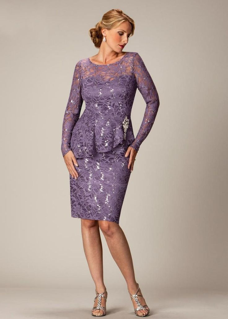 Purple plus size mother of the bride dresses lace knee for Purple plus size dresses for weddings