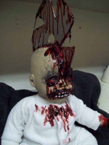 zombie baby saw in the head halloween haunted house gothic horror prop ebay