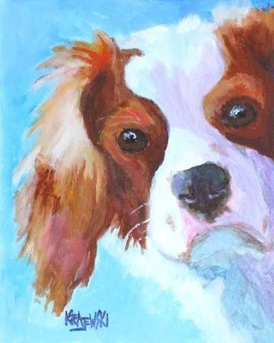 Cavalier King Charles Spaniel Art Print of by dogartstudio on Etsy