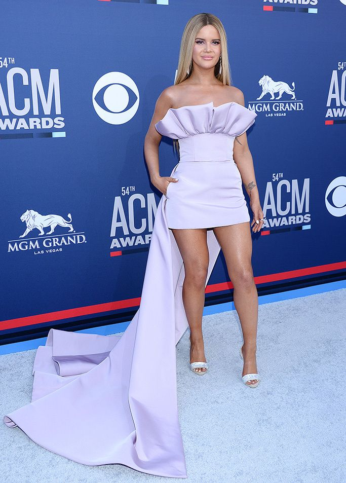 Maren Morris In This Ruffled Lavendar Gown 2019 Acm Awards Celebrities On The Red Carpet G Celebrity Outfits Fashion Trend Inspiration Celebrity Red Carpet