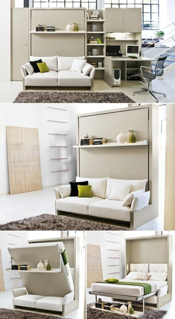 At first, it may seem like a normal cabinet or shelf that we see in every other home. But take away those pillows and a bed could be pulled down. The leg part is the shelf that you will see above the sofa. The sofa is an added support for the bed. Definitely convenient.