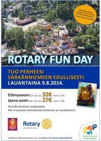 Kuvernööri Matti Poikolainen piipahti perjantaina Fröökynässä. Lopputulemana lyöttäydyimme osalliseksi Rotarien elokuun suurtapahtuman taustavoimiin. Verkkokauppamme toimii valtakunnallisena lipunmyyjänä Rotary Fun Day -tapahtumaan Särkänniemessä 9.8.2014.