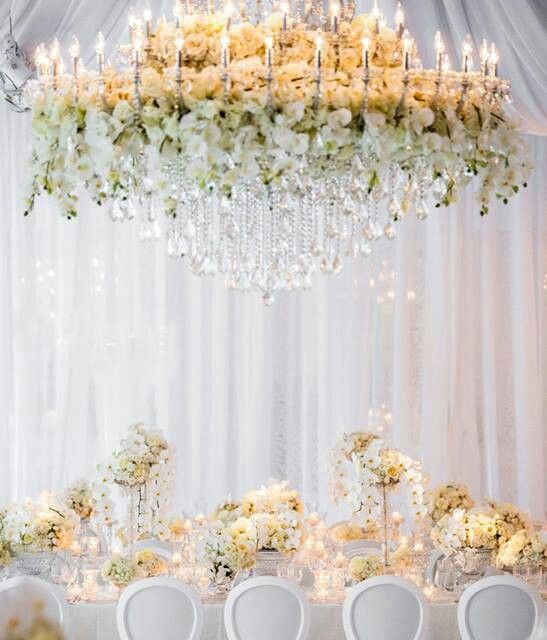 Over the top floral chandelier in buttercup yellow and cream.