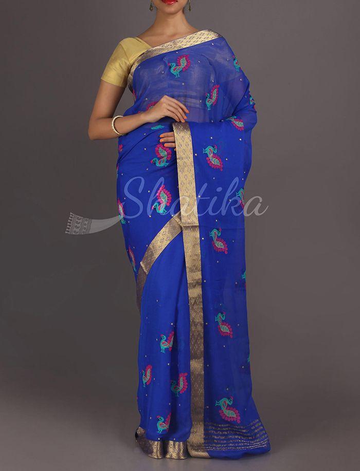 Rujutha Colorful Peacock Gold Lace Border Pure #MysoreChiffonSaree