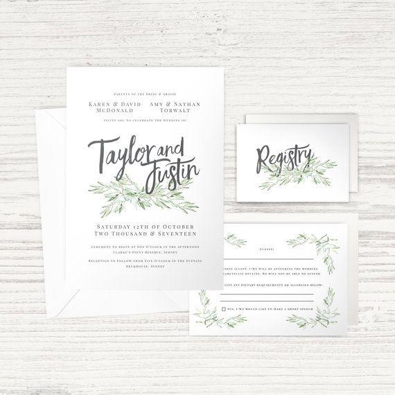'Olive Leaf' Wedding Suite - Green & Grey - Main Invitation, RSVP, Wishing Well / Registry Card, Envelopes - Custom Design