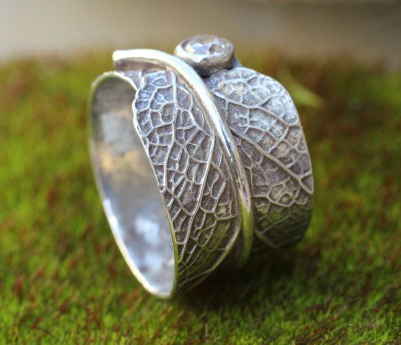 Sage blad ring alternatieve trouwring sterling door joannerowan