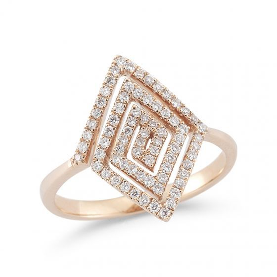 Luxe and contemporary in design, this rose gold diamond ring adds refined edge no matter the occasion. Worn alone or complemented with similar styles, this piece pairs perfectly with everything from your go-to tee to that favorite cocktail dress.