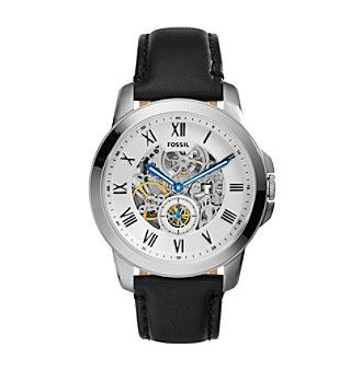Fossil® Men's Grant Stainless Steel Automatic Watch with Silvertone Case and Black Leather Strap