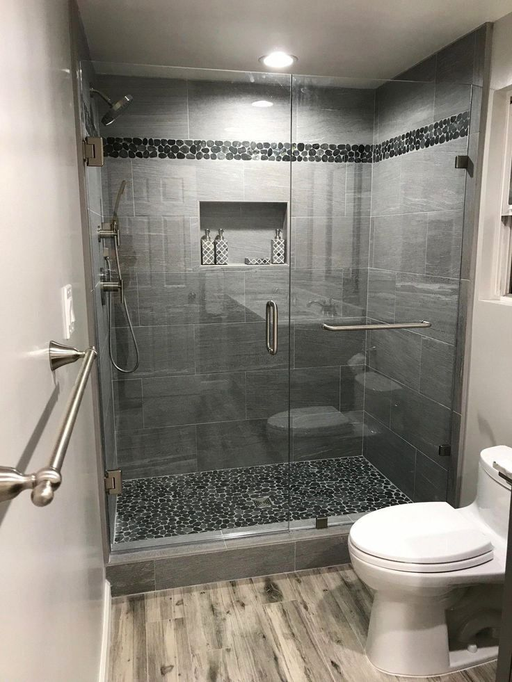 Sliced Charcoal Black Pebble Tile With Images Small Bathroom