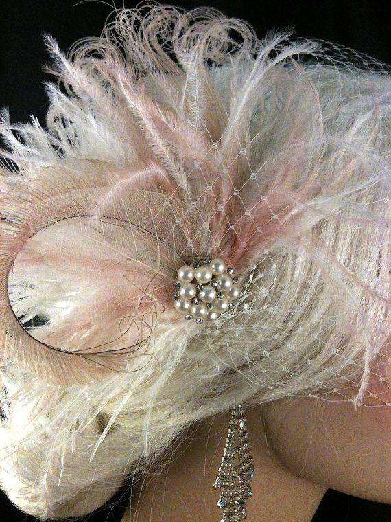 Clip di capelli nuziale piuma copricapo da sposa di IceGreenEyes