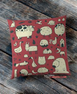 Red animal and habitat pillow case, Custom Pillow case, Square Rectangle pillows case