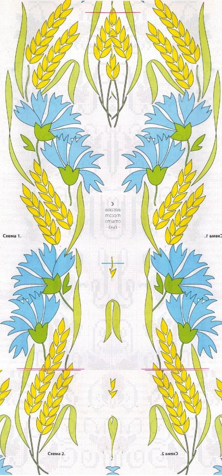 """схема """"пшеница и васильки"""" гладью"""