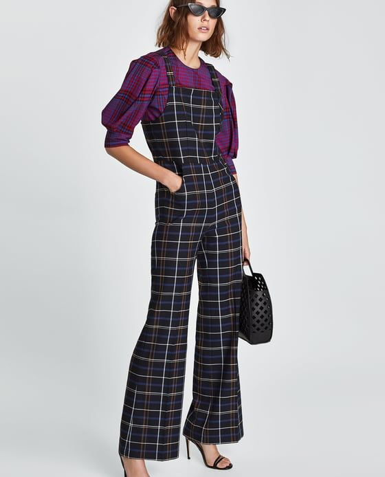 8b46880ae4 CHECKED DUNGAREES from Zara