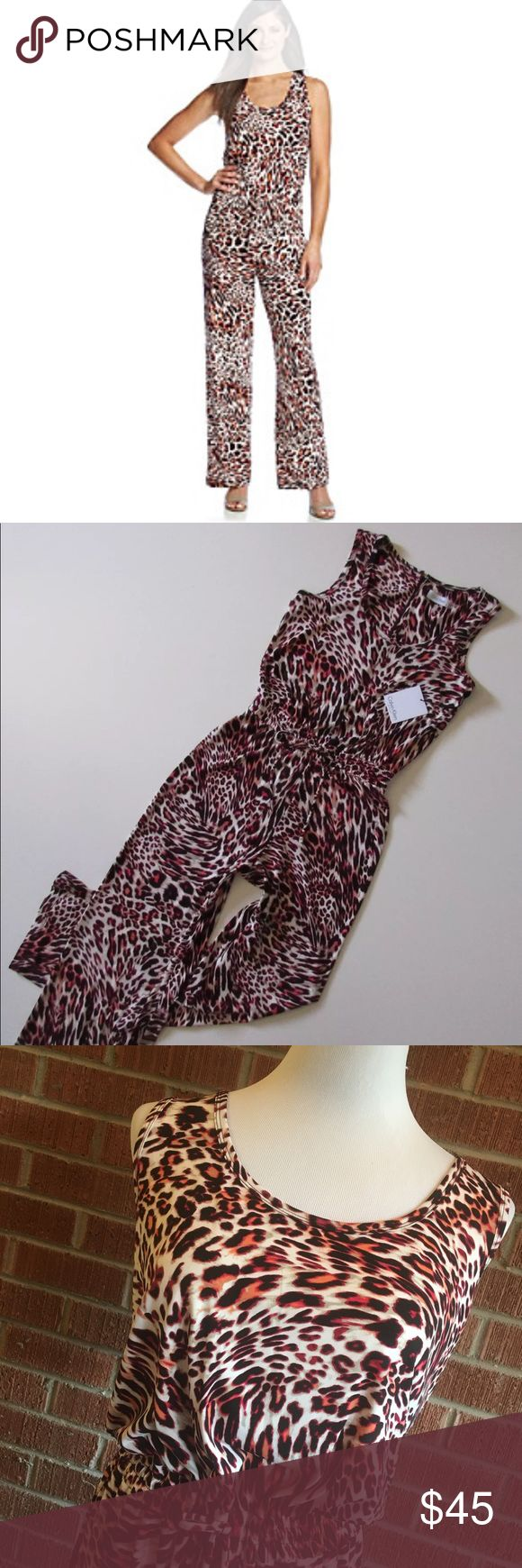 Calvin Klein pink black animal print jumpsuit Brand new with tags. Size 14. Really cute pink/black/white coloring and design. Comfortable and right on trend, too! Calvin Klein pink black animal print jumpsuit. Calvin Klein Pants Jumpsuits & Rompers