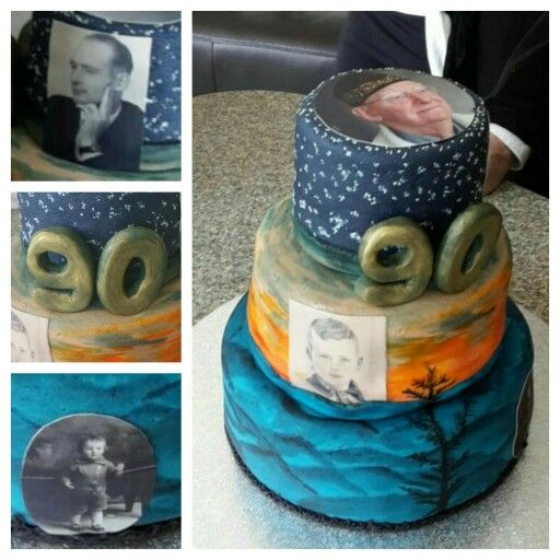 Grandpa's 90th birthday! Painting cake with pictures throughout the years!