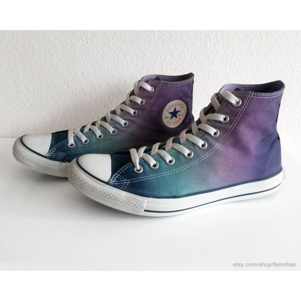 Shades of purple blue ombre Converse, dip dye All Stars, upcycled... ($46) ❤ liked on Polyvore featuring men's fashion, men's shoes, men's sneakers, converse mens shoes, mens sneakers, mens purple shoes, converse mens sneakers and mens blue shoes