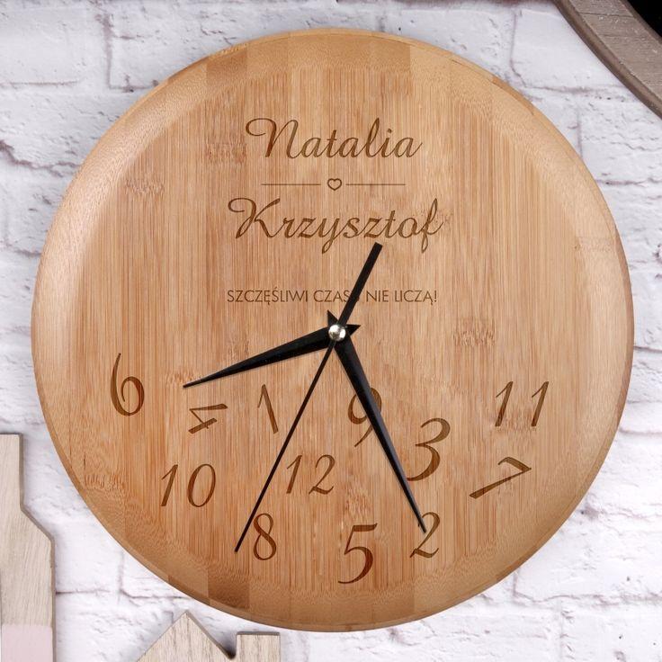 Personalizowany zegar bambusowy ZAKOCHANI