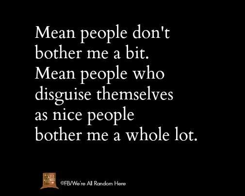 """Actually, the way I feel it reads: """"Mean people don't bother me nearly as much as mean people who disguise themselves as nice people."""""""