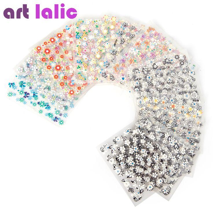 50枚の3dネイルアートステッカーデカール高品質ミックスカラー花デザインネイルのヒントデコレーションマニキュアツール