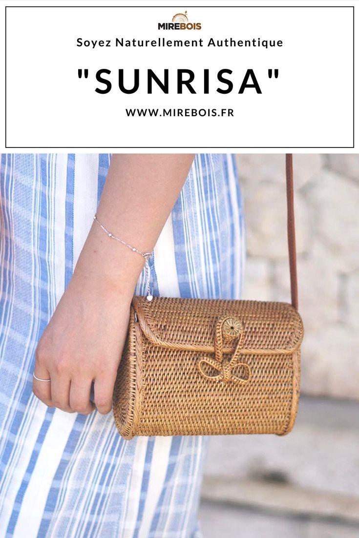 9cfdc12b31 Sunrisa est un sac à main bandoulière en rotin style Bali tissé à la main,