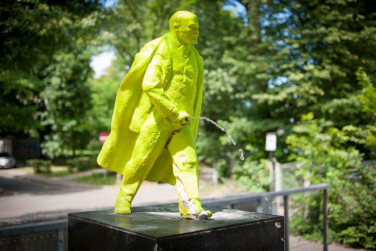 "Fountain of ""Pissing Lenin"" created by a pair of Polish artists Malgorzata Szydlowska and Bartosz Szydlowski is seen on June 24, 2014 next to the theater ""Laznia Nowa"" in Nowa Huta. Artist call their work ""Fountain of the future"""