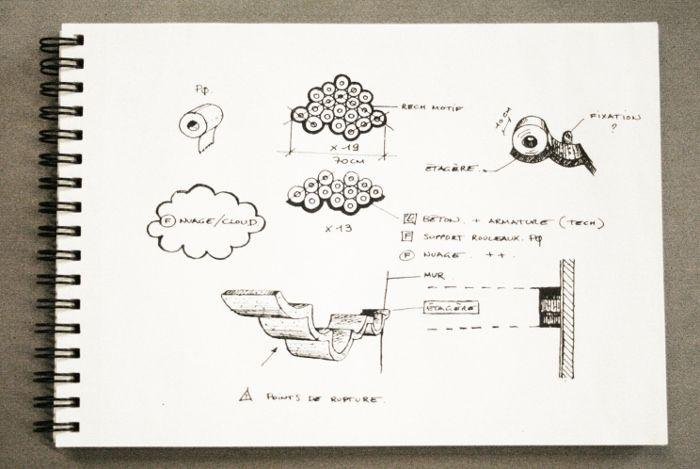 croquis fabrication Le béton comme matériau par Bertrand Jayr