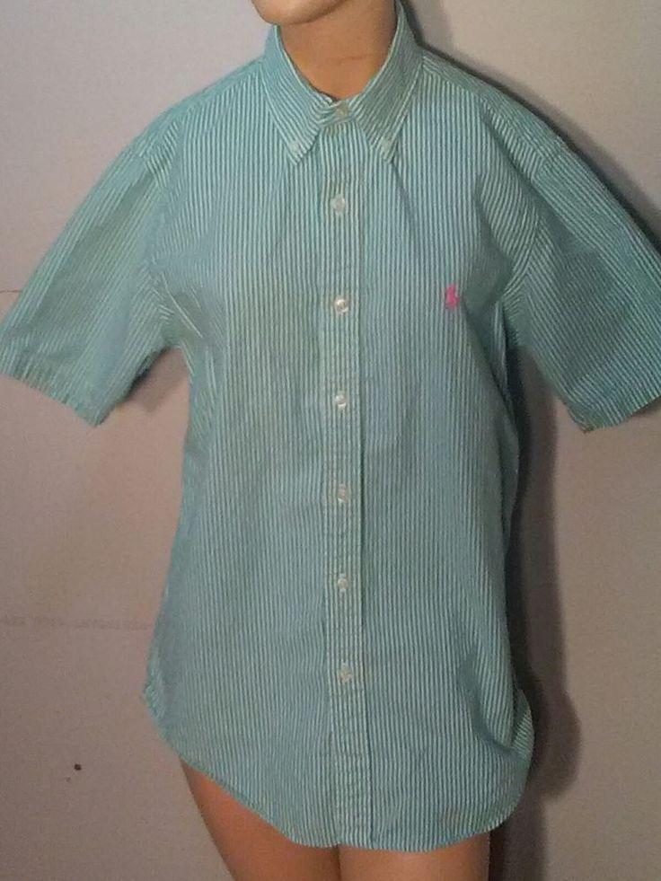 Ralph Lauren Women's Button Down Shirt Green White Striped textured short sleeve #RalphLauren #ButtonDownShirt #Career