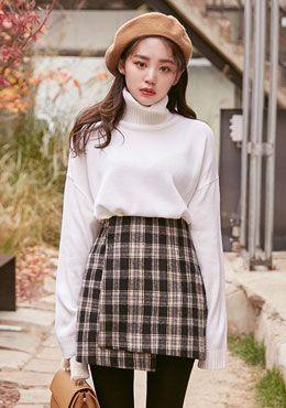 High Waisted Tartan Skirt | Korean Fashion